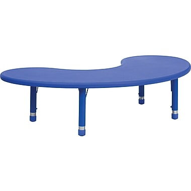 Flash Furniture 35''W x 65''L Height Adjustable Half-Moon Plastic Activity Table, Blue