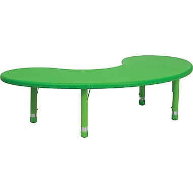 Flash Furniture 35''W x 65''L Height Adjustable Half-Moon Plastic Activity Table, Green