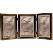11435T Antique Gold Bead 3.5x5 Hinged Triple Picture Frame