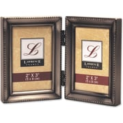 Antique Pewter Hinged Double 2x3 Picture Frame - Beaded Edge Design