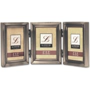Antique Pewter Hinged Triple 2x3 Picture Frame - Beaded Edge Design