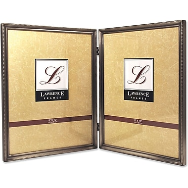 Lawrence Frames 8in. x 10in. Metal Pewter Hinged Double Picture Frame (11580D)
