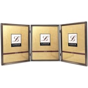 "Lawrence Frames 8"" x 10"" Metal Pewter Hinged Triple Picture Frame (11580T)"