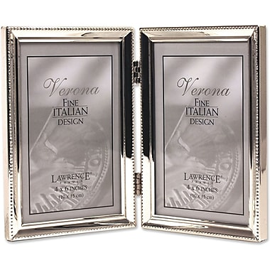 Polished Silver Plate 4x6 Hinged Double Picture Frame - Bead Border Design