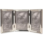 "Lawrence Frames Verona Collection 4"" x 6"" Metal Silver Hinged Triple Picture Frame with Beads (11646T)"
