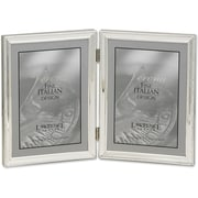 "Lawrence Frames Verona Collection 5"" x 7"" Metal Silver Hinged Double Picture Frame with Beads (11657D)"