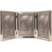 Polished Silver Plate 5x7 Hinged Triple Picture Frame - Bead Border Design