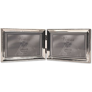 Polished Silver Plate 4x6 Hinged Double Horizontal Picture Frame - Bead Border Design