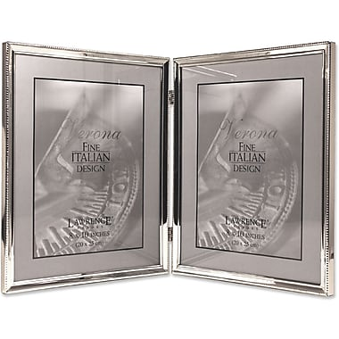 Polished Silver Plate 8x10 Hinged Double Picture Frame - Bead Border Design