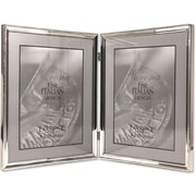 "Lawrence Frames Verona Collection 8"" x 10"" Metal Silver Hinged Double Picture Frame with Beads (11680D)"