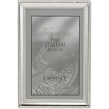 Polished Silver Plate 8x12 Picture Frame - Bead Border Design