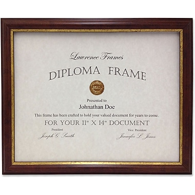 Lawrence Frames Domed Walnut with Gold Line Document Frame