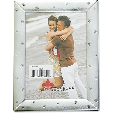 Brushed Silver 4x6 Metal Picture Frame Decorated with Crystals