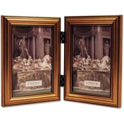 "Lawrence Frames 4"" x 6"" Wooden Antique Gold Double Picture Frame (224G46D)"