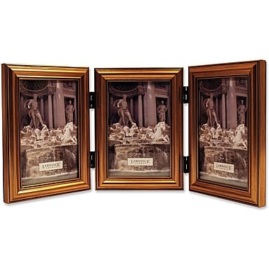 Antique Gold Wood Triple  4x6 Picture Frame - Classic Design