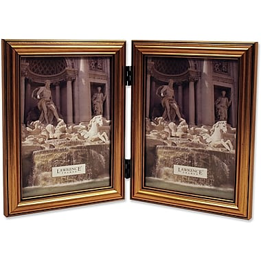 Antique Gold Wood Double 5x7 Picture Frame - Classic Design