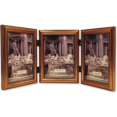 Antique Gold Wood Triple 5x7 Picture Frame - Classic Design