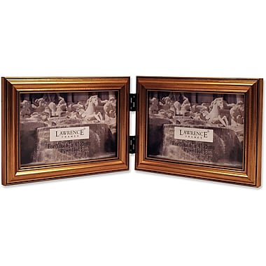 Lawrence Frames 6in. x 4in. Wooden Antique Gold Double Picture Frame (224G64D)