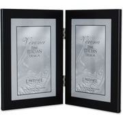 "Lawrence Frames 4"" x 6"" Metal Black Hinged Double Picture Frame (230024)"