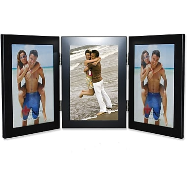 Black 4x6 Hinged Triple Metal Picture Frame