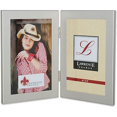Brushed Silver 4x6 Hinged Double Metal Picture Frame