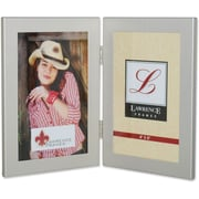 "Lawrence Frames 4"" x 6"" Metal Brushed Silver Hinged Double Picture Frame (230124)"