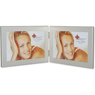 Brushed Silver 6x4 Hinged Double Metal Picture Frame