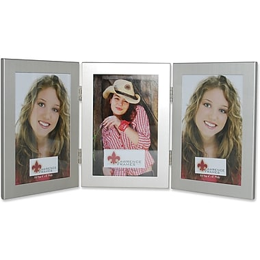 Brushed Silver 4x6 Hinged Triple Metal Picture Frame