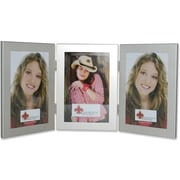 "Lawrence Frames 4"" x 6"" Metal Brushed Silver Hinged Triple Picture Frame (230143)"