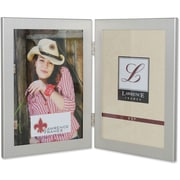 "Lawrence Frames 5"" x 7"" Metal Brushed Silver Hinged Double Picture Frame (230152)"