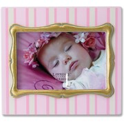 4x6 Pink Pinstipe Wood Picture Frame with Gold inner Frame