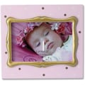 4x6 Pink Polka Dot Wood Picture Frame with Gold inner Frame