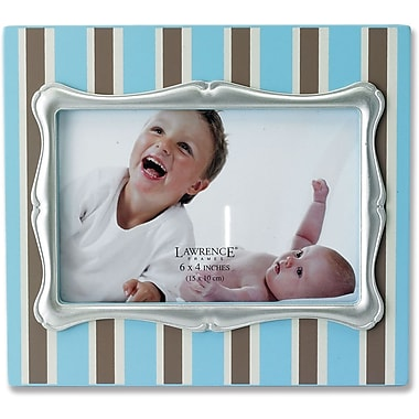 4x6 Blue Pinstipe Wood Picture Frame with Silver Inner Frame