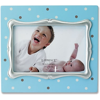 4x6 Blue Polka Dot Wood Picture Frame with Silver Inner Frame