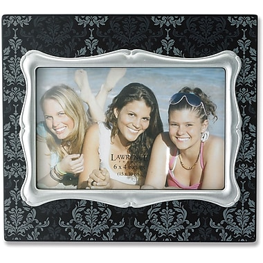4x6 Black Wood Picture Frame with Damask Pattern and Silver Inner Frame