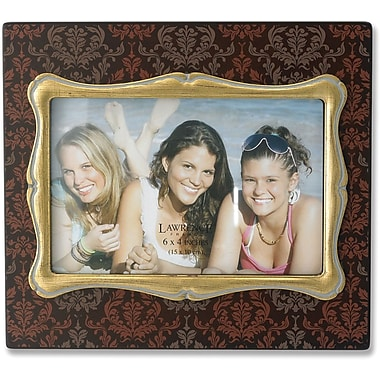 4x6 Brown Wood Picture Frame with Damask Pattern and Gold Inner Frame
