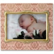 4x6 Ivory Wood Picture Frame with Damask Pattern and Gold Inner Frame