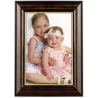 Walnut and Black Wood 4in. x 6in. Picture Frame - Gold Line
