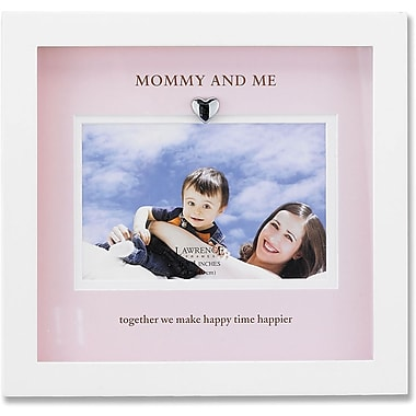 White Wood Picture Frame With Pink Mat- Mommy And Me Design