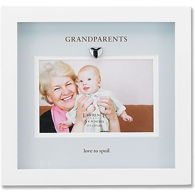 White Wood Picture Frame With Blue Mat- Grandparents Design