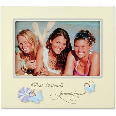 Beige 4x6 Picture Frame - Best Friends And Butterfly Design