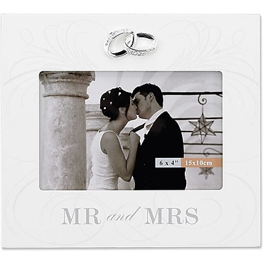 6x4 Ivory Wood Mr. And Mrs. Wedding Picture Frame - Silver Interlocked Rings Ornament with Crystals