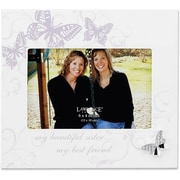 6x4 Ivory Wood Sister Picture Frame - Silver Butterfly Ornament with Crystals