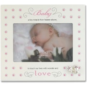 Cream And Pink Polka Dot 4x6 Picture Frame - Baby And Shoes Design