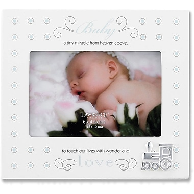 Cream And Blue Polka Dot 4x6 Picture Frame - Baby And Train Design