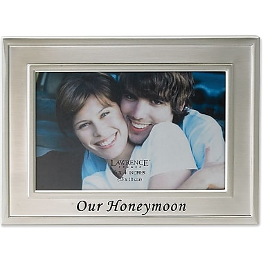 Brushed Metal 4x6 Our Honeymoon Picture Frame - Sentiments Collection