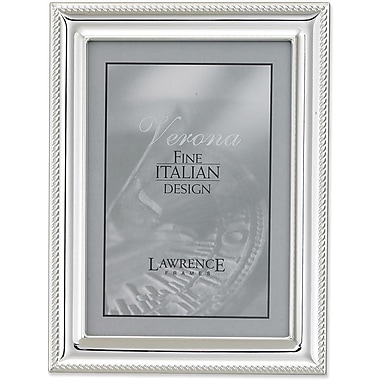 Silver Plated 5x7 Metal Picture Frame - Rope Border