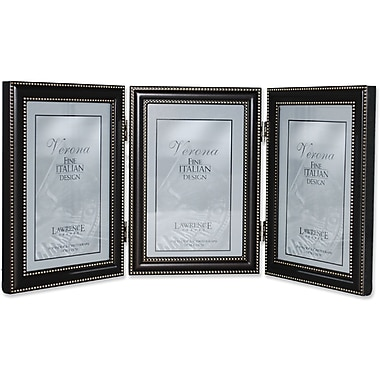 4x6 Hinged Triple (Vertical) Metal Picture Frame Oil Rubbed Bronze with Delicate Beading