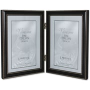 5x7 Hinged Double (Vertical) Metal Picture Frame Oil Rubbed Bronze with Delicate Beading