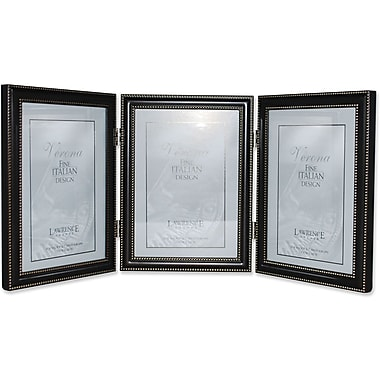 5x7 Hinged Triple (Vertical) Metal Picture Frame Oil Rubbed Bronze with Delicate Beading